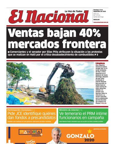 Portada Periódico El Nacional, Domingo 22 de Septiembre, 2019