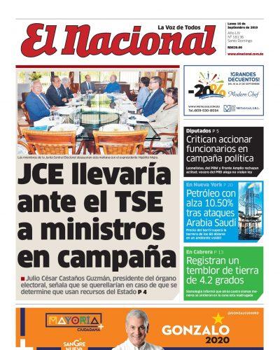 Portada Periódico El Nacional, Lunes 16 de Septiembre, 2019