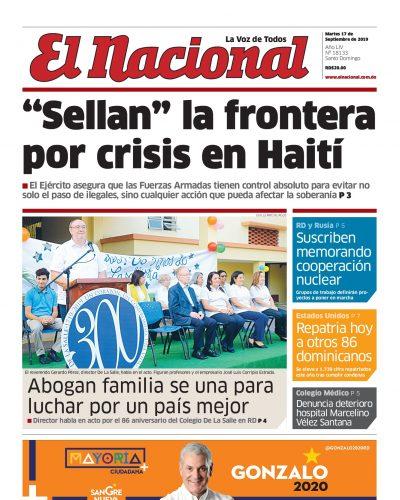 Portada Periódico El Nacional, Martes 17 de Septiembre, 2019