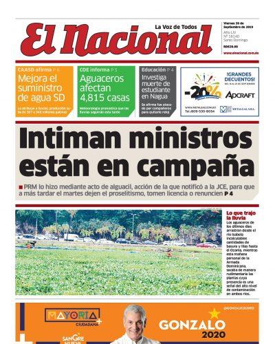 Portada Periódico El Nacional, Viernes 20 de Septiembre, 2019