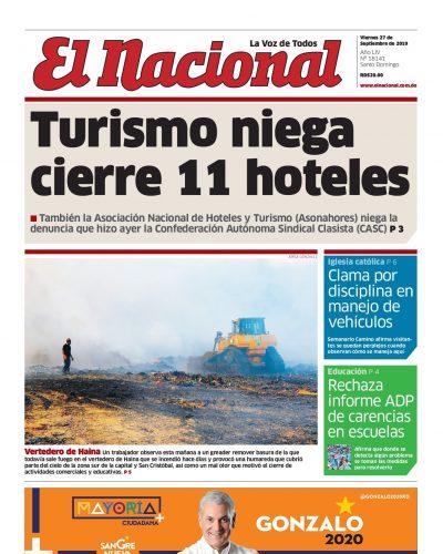 Portada Periódico El Nacional, Viernes 27 de Septiembre, 2019