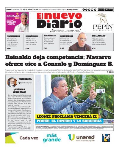 Portada Periódico El Nuevo Diario, Lunes 02 de Septiembre, 2019