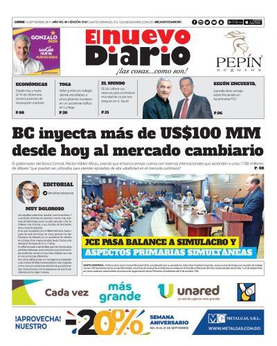 Portada Periódico El Nuevo Diario, Lunes 16 de Septiembre, 2019