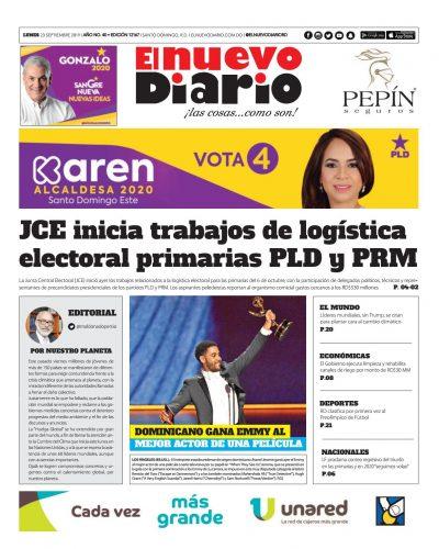 Portada Periódico El Nuevo Diario, Lunes 23 de Septiembre, 2019