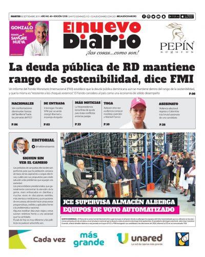 Portada Periódico El Nuevo Diario, Martes 03 de Septiembre, 2019