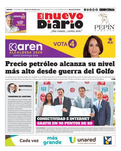 Portada Periódico El Nuevo Diario, Martes 17 de Septiembre, 2019