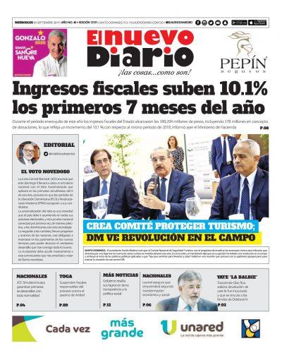 Portada Periódico El Nuevo Diario, Miércoles 04 de Septiembre, 2019