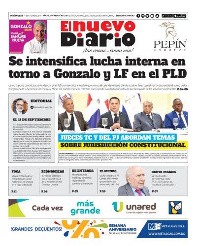 Portada Periódico El Nuevo Diario, Miércoles 11 de Septiembre, 2019