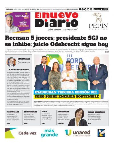 Portada Periódico El Nuevo Diario, Miércoles 18 de Septiembre, 2019