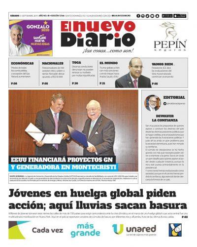 Portada Periódico El Nuevo Diario, Sábado 21 de Septiembre, 2019