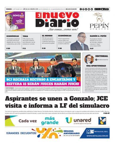 Portada Periódico El Nuevo Diario, Viernes 13 de Septiembre, 2019