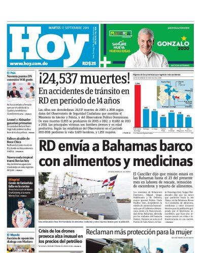 Portada Periódico Hoy, Martes 17 de Septiembre, 2019