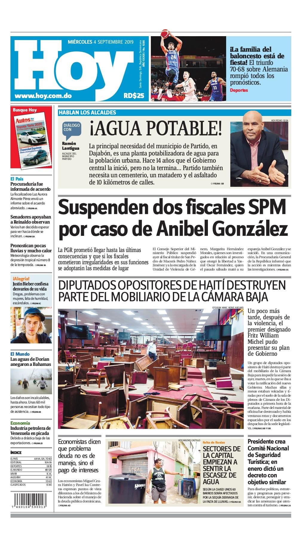 Portada Periódico Hoy, Miércoles 04 de Septiembre, 2019