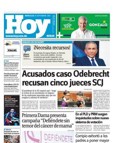 Portada Periódico Hoy, Miércoles 18 de Septiembre, 2019