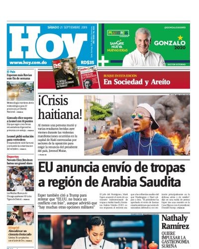 Portada Periódico Hoy, Sábado 21 de Septiembre, 2019
