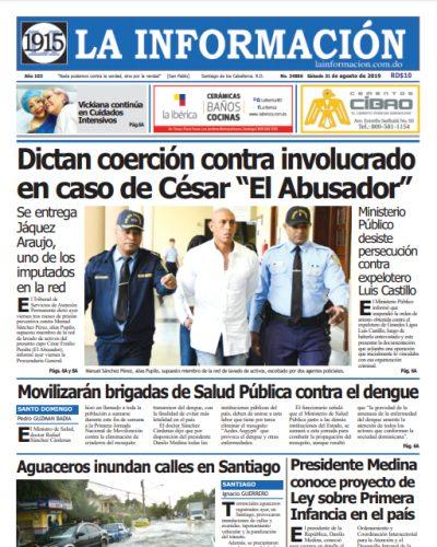 Portada Periódico La Información, Domingo 01 de Septiembre, 2019