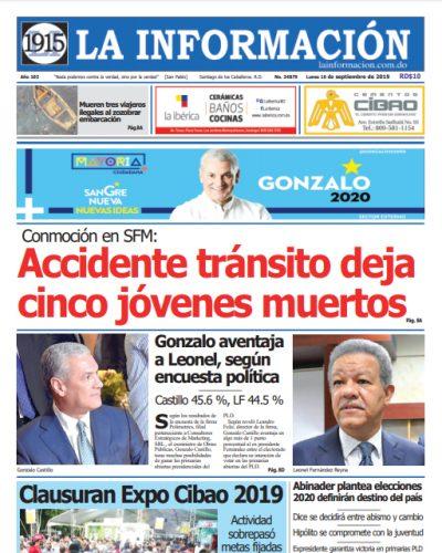 Portada Periódico La Información, Lunes 16 de Septiembre, 2019