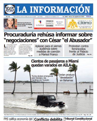 Portada Periódico La Información, Martes 03 de Septiembre, 2019