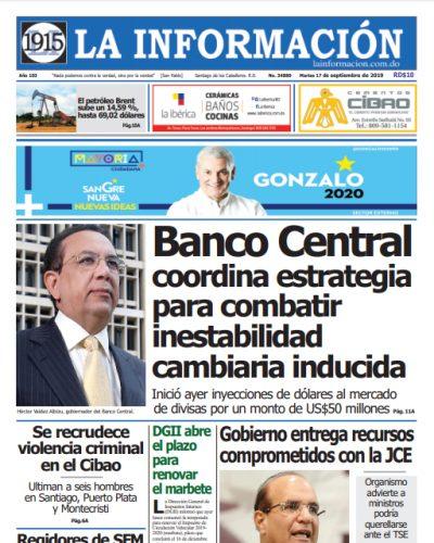 Portada Periódico La Información, Martes 17 de Septiembre, 2019