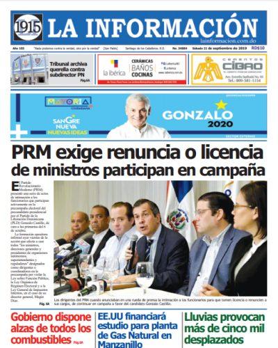 Portada Periódico La Información, Sábado 21 de Septiembre, 2019