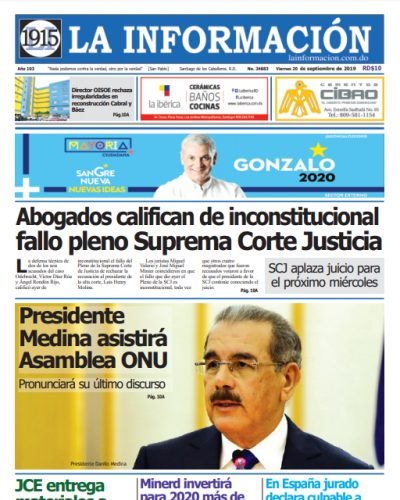 Portada Periódico La Información, Viernes 20 de Septiembre, 2019