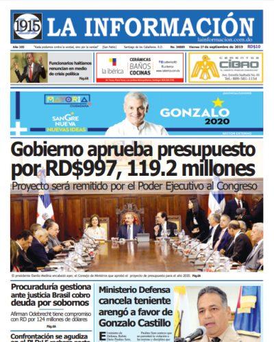Portada Periódico La Información, Viernes 27 de Septiembre, 2019