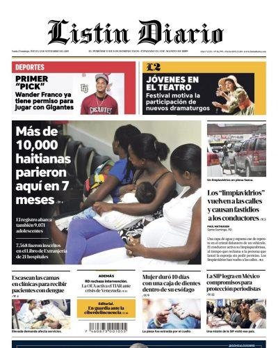 Portada Periódico Listín Diario, Jueves 12 de Septiembre, 2019