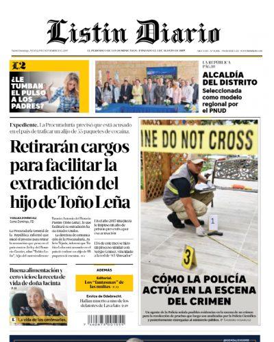 Portada Periódico Listín Diario, Jueves 19 de Septiembre, 2019