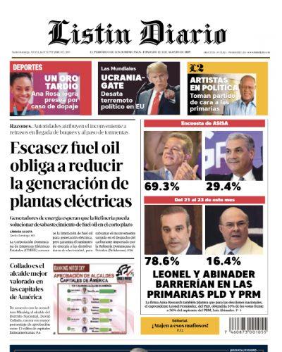 Portada Periódico Listín Diario, Jueves 26 de Septiembre, 2019