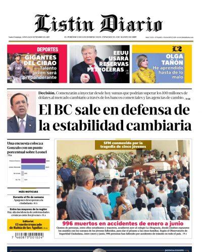 Portada Periódico Listín Diario, Lunes 16 de Septiembre, 2019