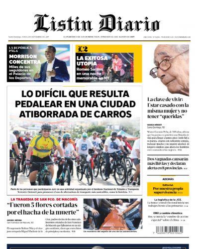 Portada Periódico Listín Diario, Lunes 23 de Septiembre, 2019
