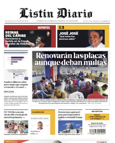 Portada Periódico Listín Diario, Lunes 30 de Septiembre, 2019