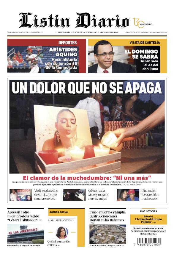 Portada Periódico Listín Diario, Martes 03 de Septiembre, 2019