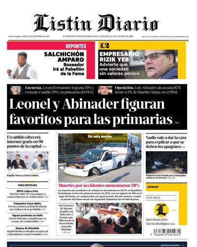 Portada Periódico Listín Diario, Martes 17 de Septiembre, 2019