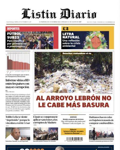 Portada Periódico Listín Diario, Martes 24 de Septiembre, 2019