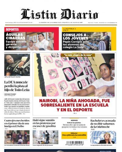 Portada Periódico Listín Diario, Miércoles 18 de Septiembre, 2019