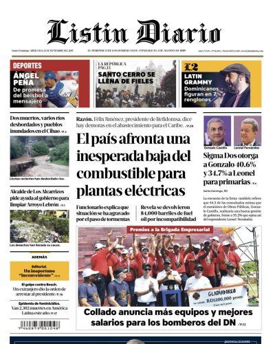 Portada Periódico Listín Diario, Miércoles 25 de Septiembre, 2019