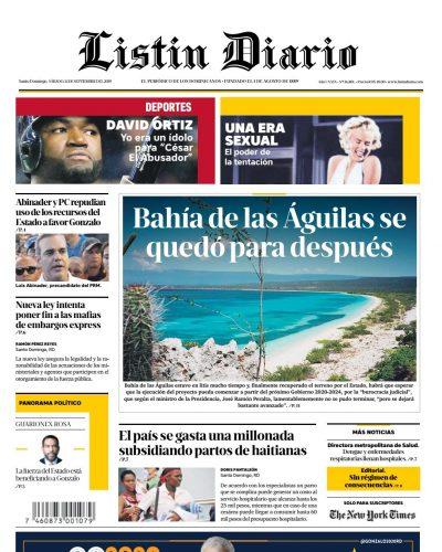 Portada Periódico Listín Diario, Sábado 14 de Septiembre, 2019