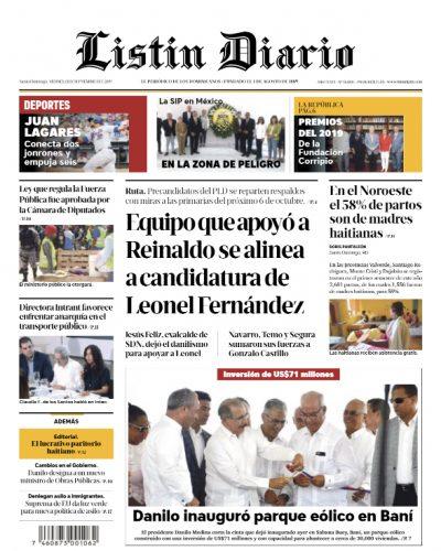 Portada Periódico Listín Diario, Viernes 13 de Septiembre, 2019