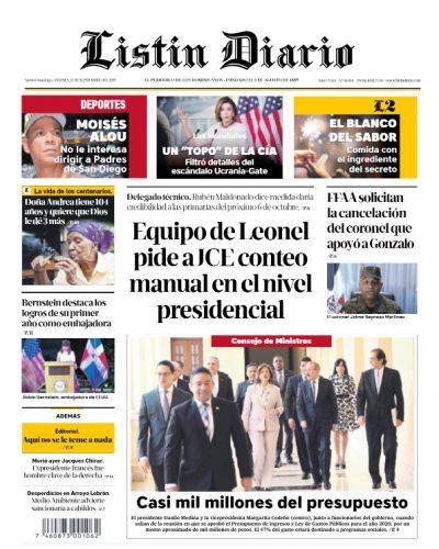 Portada Periódico Listín Diario, Viernes 27 de Septiembre, 2019