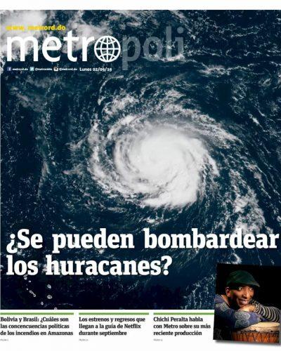 Portada Periódico Metro, Lunes 02 de Septiembre, 2019