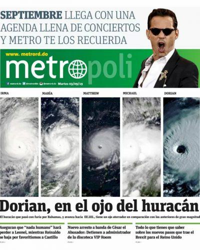 Portada Periódico Metro, Martes 03 de Septiembre, 2019