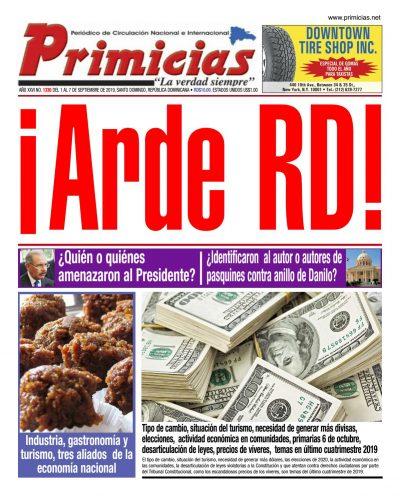 Portada Periódico Primicias, Lunes 09 de Septiembre, 2019