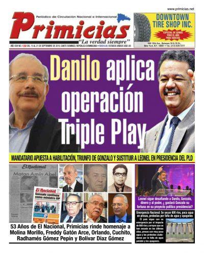 Portada Periódico Primicias, Lunes 16 de Septiembre, 2019