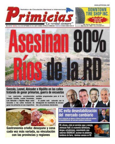 Portada Periódico Primicias, Lunes 23 de Septiembre, 2019