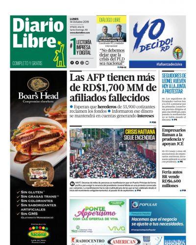 Portada Periódico Diario Libre, Domingo 13 de Octubre, 2019