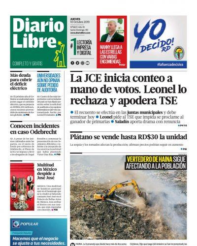 Portada Periódico Diario Libre, Jueves 08 de Octubre, 2019