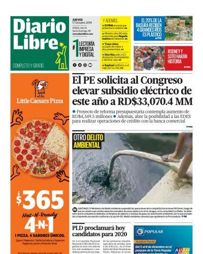Portada Periódico Diario Libre, Jueves 17 de Octubre, 2019