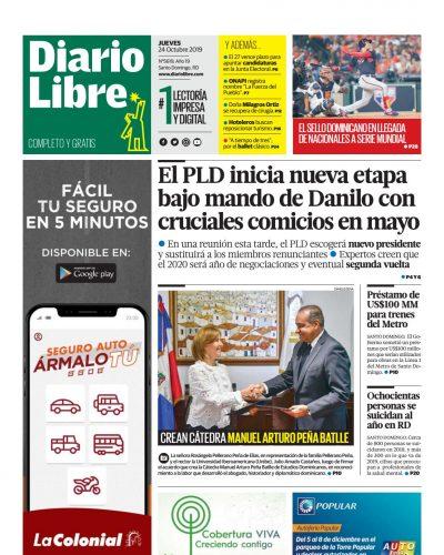 Portada Periódico Diario Libre, Jueves 24 de Octubre, 2019