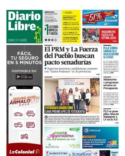 Portada Periódico Diario Libre, Jueves 31 de Octubre, 2019